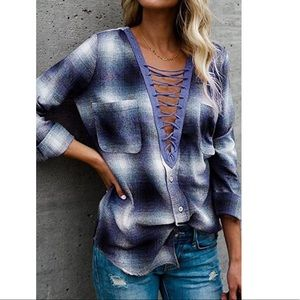 Long Sleeve V Neck Button Down Shirt
